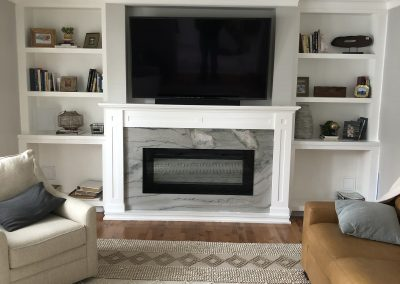Fireplace made out of marble, granite, quartz Calacatta Brazil